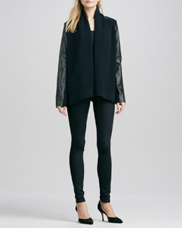 Vince Leather-Sleeve Knit Jacket, Favorite Tank & Riley Leggings