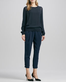 Vince Sheer-Side-Panel Top & Stretch Wool Harem Pants