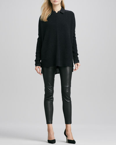 Vince Chevron Crewneck Sweater, Button-Down Silk Blouse & Zipper-Cuff Cropped Leather Leggings
