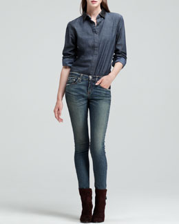 rag & bone/JEAN The Classic Chambray Shirt with Leather Collar & The Skinny Augusta Jeans