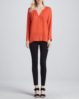 Joie Kade Long-Sleeve Silk Blouse & Keena Ponte Leggings
