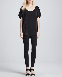 Joie Joan Short-Sleeve Silk Top & Keena Ponte Leggings