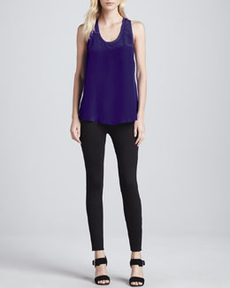 Joie Marlo Sleeveless Silk Top & Keena Ponte Leggings