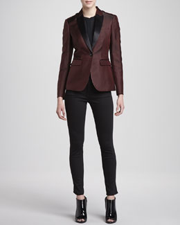 Burberry London Jacquard One-Button Blazer, Long-Sleeve Chiffon Blouse & Jersey Side-Panel Jeans