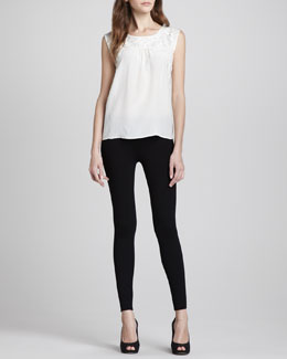 Joie Alexei Embroidered Sleeveless Tank & Keena Ponte Leggings