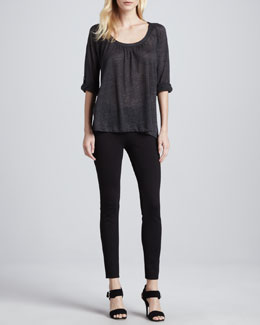 Joie Merlot Tab-Sleeve Top & Keena Ponte Leggings