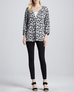 Joie Addie D Snake-Print Top & Keena Ponte Leggings