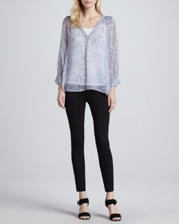 Joie Aceline Sheer Printed Blouse & Keena Ponte Leggings