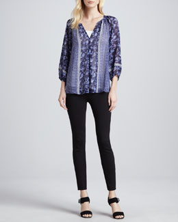 Joie Gloria Mixed-Print Blouse & Keena Ponte Leggings