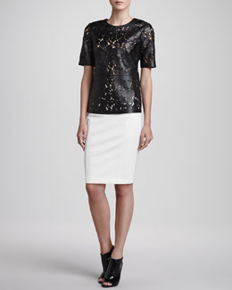 Burberry London Laser-Cut Short-Sleeve Leather Top & Jersey Back-Zip Pencil Skirt
