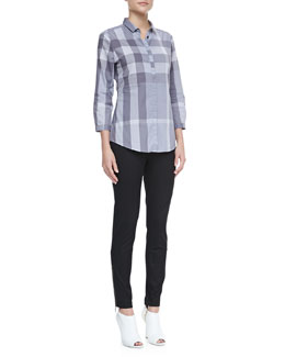 Burberry Brit 3/4-Sleeve Check Shirt & Skinny Trousers with Ankle Zip
