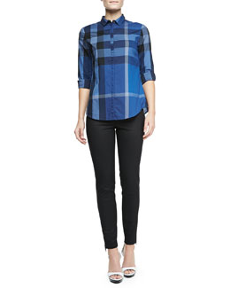 Burberry Brit Long-Sleeve Cotton Check Skirt & Skinny Trousers with Ankle Zip