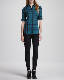 Burberry Brit Long-Sleeve Gauze Check Shirt & Skinny Trousers with Ankle Zip