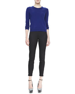 Burberry Brit Pullover Sweater with Elbow Patches & Skinny Trousers with Ankle Zip