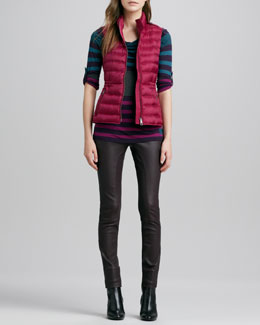 Burberry Brit Zip-Pocket Puffer Vest, Striped Tee & Paneled Leather Leggings