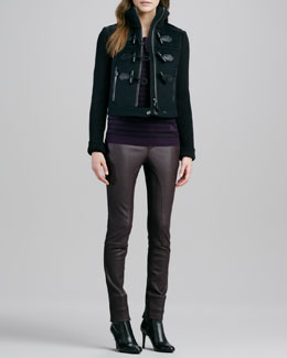 Burberry Brit Knit-Sleeve Toggle Jacket, Striped Sweater & Paneled Leather Leggings