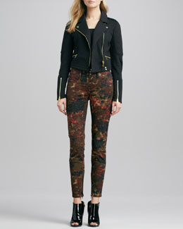 Burberry Brit Cropped Knit Moto Jacket and Floral-Camo Skinny Jeans
