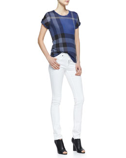 Burberry Brit Short-Sleeve Check Tee & Skinny Straight-Leg Jeans