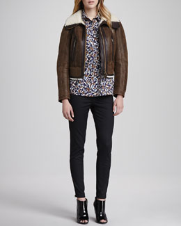 Burberry Brit Shearling-Lined Jacket, Woven Floral-Print Shirt & Skinny Trousers with Ankle Zip