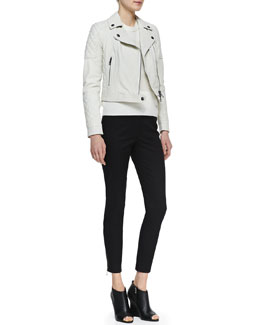 Burberry Brit Grained Lambskin Leather Jacket, Striped Cashmere Sweater & Skinny Trousers
