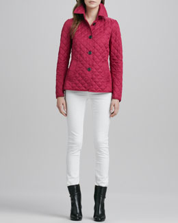 Burberry Brit Quilted Band-Back Jacket and Skinny Straight-Leg Jeans