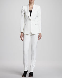 Burberry London One-Button Twill Blazer & Straight-Leg Center-Seam Trousers