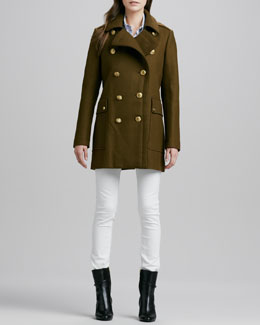 Burberry Brit Double-Breasted Wool Coat with Back Pleats, Short-Sleeve Woven Cotton-Linen Shirt & Skinny Straight-Leg Jeans