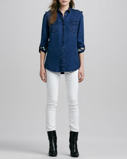 Burberry Brit Denim Patch-Pocket Shirt and Skinny Straight-Leg Jeans