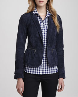 Burberry Brit Suede Cinched-Waist Jacket and Gingham Button-Down Shirt