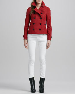 Burberry Brit Double-Breasted Short Raincoat and Skinny Straight-Leg Jeans