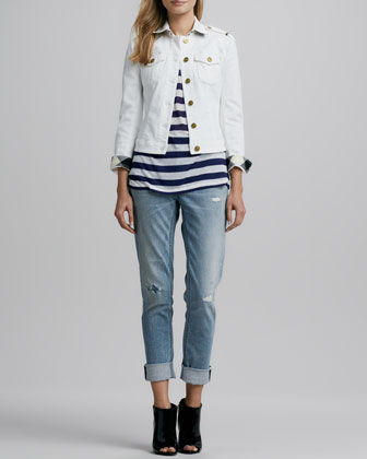 Check-Trim Denim Jacket, Short-Sleeve Striped Tee & Distressed Straight-Leg ...