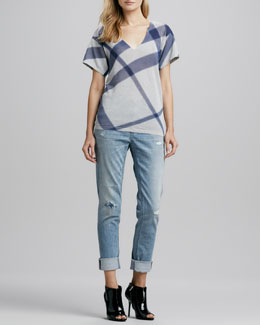 Burberry Brit Short-Sleeve Check Sweater & Distressed Straight-Leg Jeans