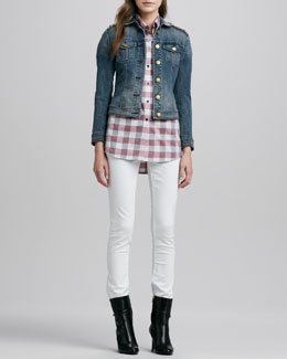 Burberry Brit Fitted Denim Jacket, Buffalo-Check Shirt & Skinny Straight-Leg Jeans