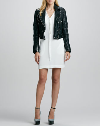 Ribbed Leather Moto Jacket & Zip-Front Shift Dress