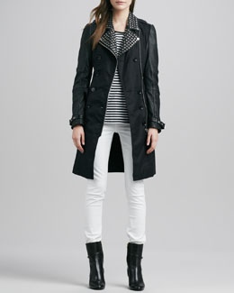 Burberry Brit Studded Leather-Sleeve Trench Coat, Striped Tab-Sleeve Tee & Skinny Straight-Leg Jeans
