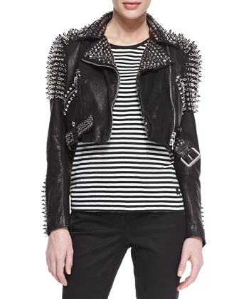 Spike Studded Leather Motorcycle Jacket & Striped Tab-Sleeve Tee