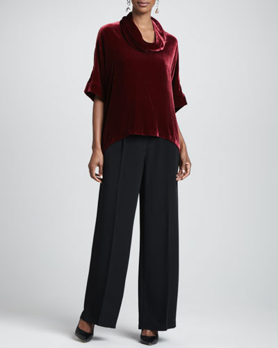 Eileen Fisher Velvet Cowl-Neck Top & Crepe-de-Chine Wide-Leg Pants