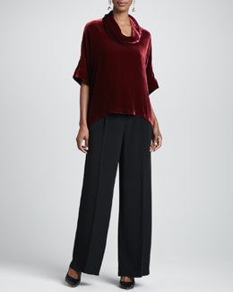 Eileen Fisher Velvet Cowl-Neck Top & Crepe-de-Chine Wide-Leg Pants, Petite