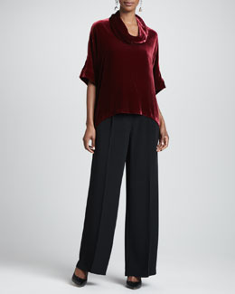 Eileen Fisher Velvet Cowl-Neck Top & Crepe-de-Chine Wide-Leg Pants, Women's