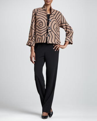 Graphic Suede Boxy Jacket, Gabardine Travel Tank & Pants, Petite