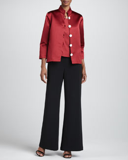 Caroline Rose Satin Pave-Button Jacket, Square-Neck Tank & Crepe Wide-Leg Pants