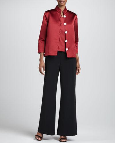 Caroline Rose Satin Pave-Button Jacket, Square-Neck Tank & Crepe Wide-Leg Pants, Petite