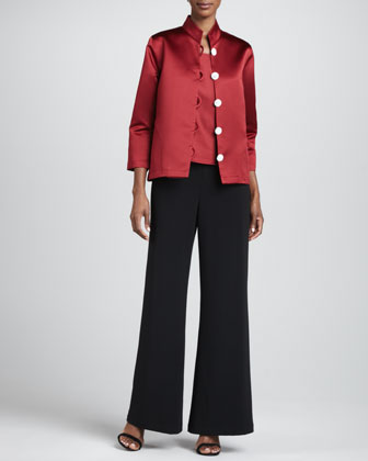 Satin Pave-Button Jacket, Square-Neck Tank & Crepe Wide-Leg Pants, Women's