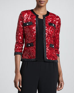 Michael Simon Swirl-Sequined Cardigan with Trim & Solid Scoop-Neck Shell