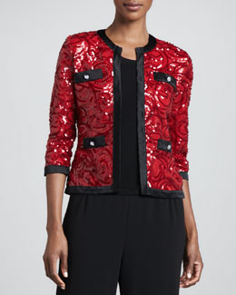 Michael Simon Swirl-Sequined Cardigan with Trim & Solid Scoop-Neck Shell, Petite
