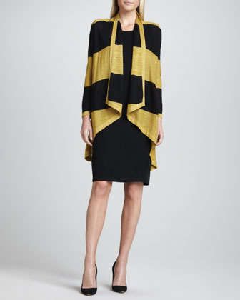 Tiffany Striped High-Low Cardigan & Sleeveless Jersey Dress