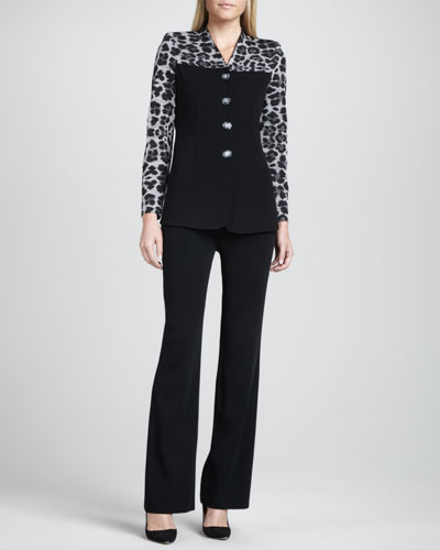 Misook Animal-Mix Printed Jacket & Carlie Wide-Leg Pants, Petite