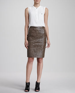 Burberry London Sleeveless Crepe Blouse with Pocket & Laser-Cut Leather Pencil Skirt