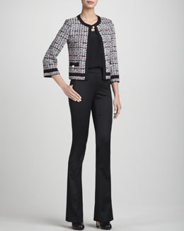 St. John Collection Top-Closure Tweed Jacket, Stretch Silk Crepe de Chine Shell & Annabel Narrow Boot-Cut Pants