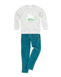 Stella McCartney Betty Lamb-Graphic Sweatshirt & Nina Skinny-Fit Corduroy Pants